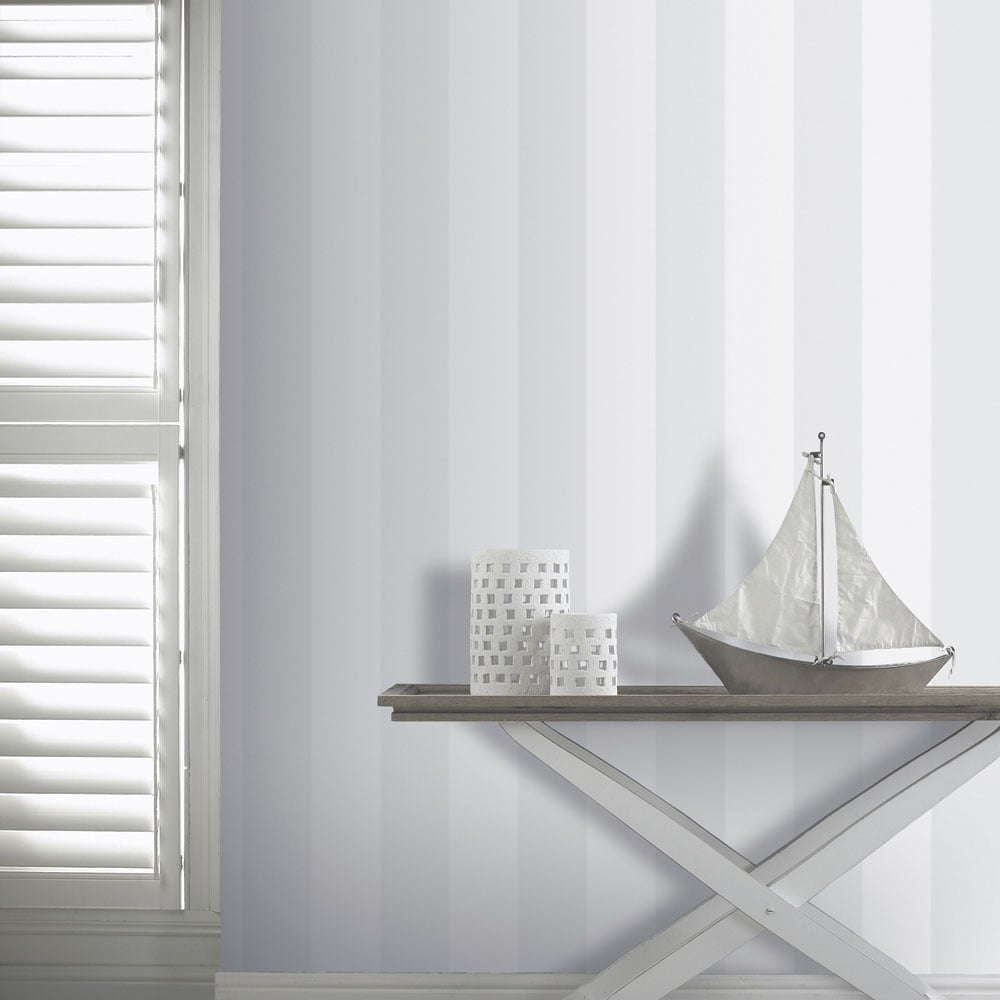 Arthouse Vintage Brilliance Stripe Wallpaper White Silver