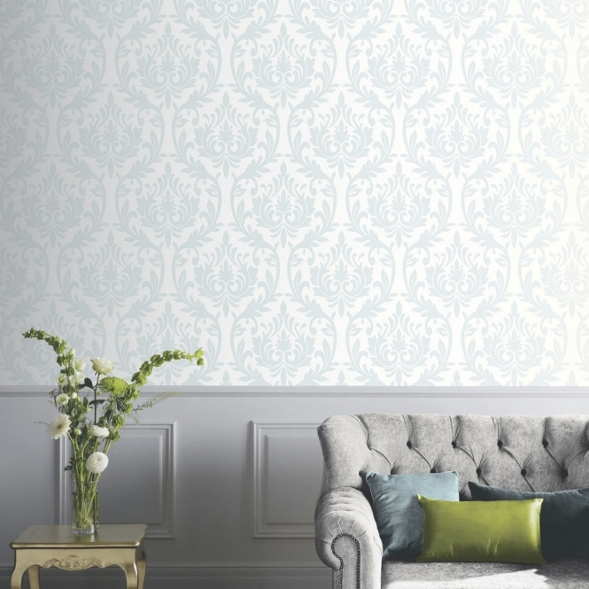 Arthouse Vintage Lucca Damask Wallpaper Duck Egg (891200)