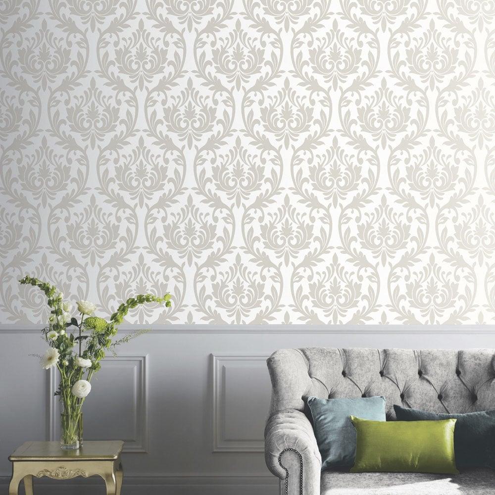 Arthouse vintage lucca damask wallpaper mocha 891201 - Art house wallpaper uk ...