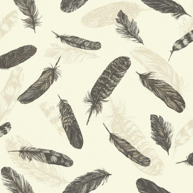 Arthouse Vintage Plume Feather Wallpaper Black, Cream (252800)