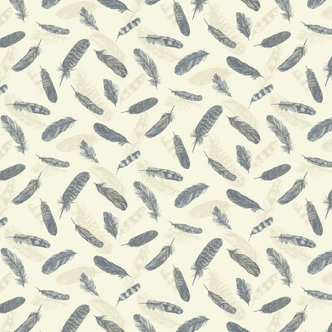 Arthouse Vintage Plume Feather Wallpaper Blue, Cream (252801)