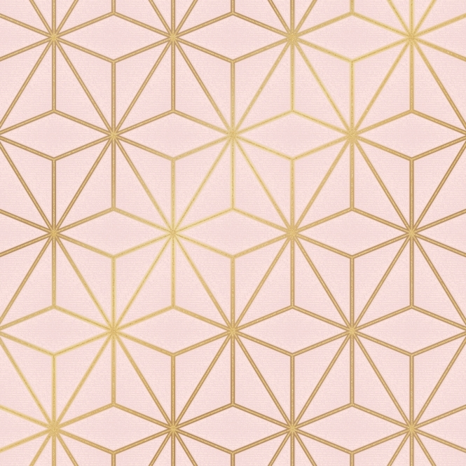 Astral Metallic Geometric Wallpaper Blush Pink Gold ILW980118