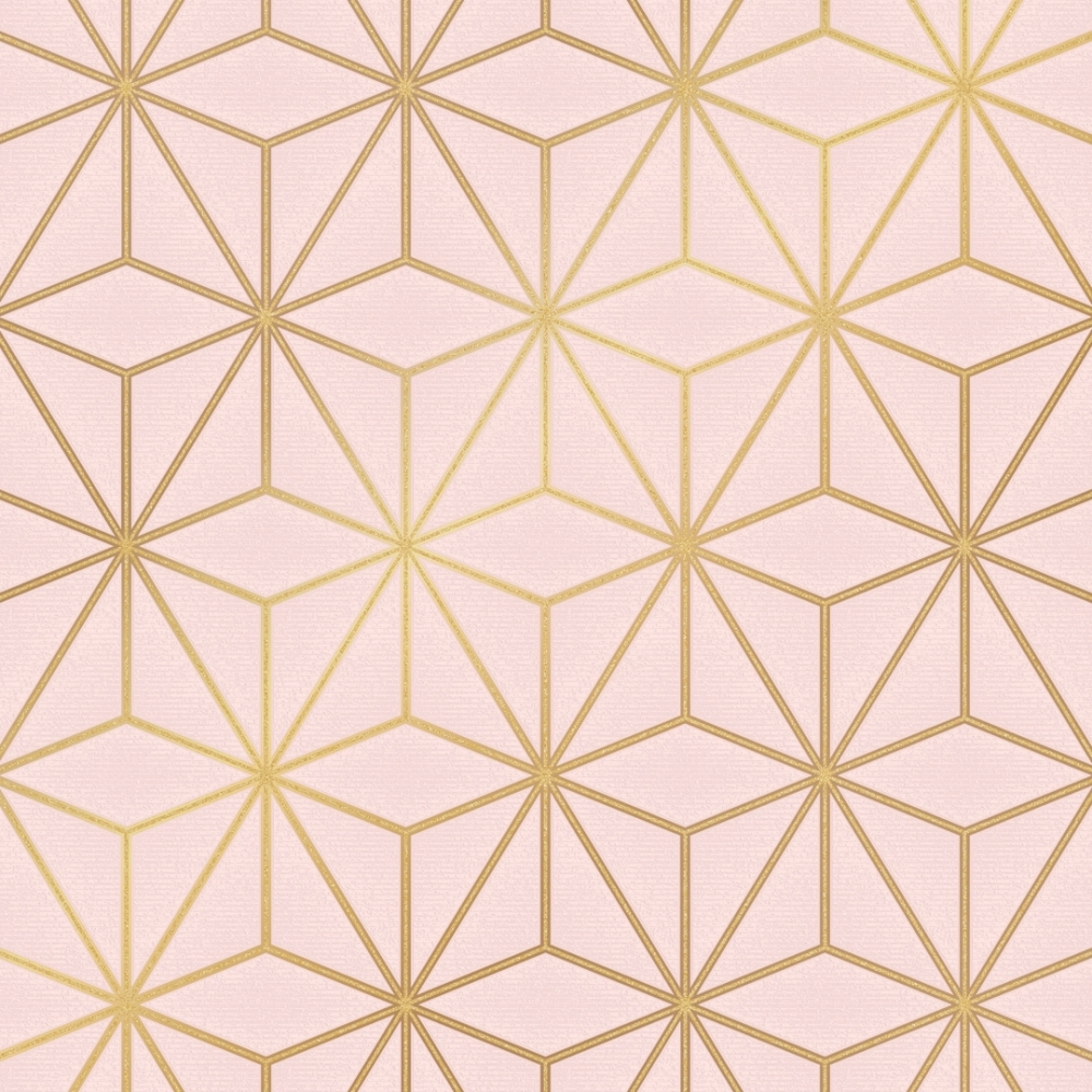 I Love Wallpaper Astral Metallic Geometric Wallpaper Blush