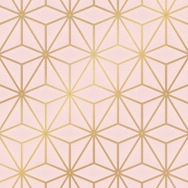 Astral Metallic Geometric Wallpaper Blush Pink Gold