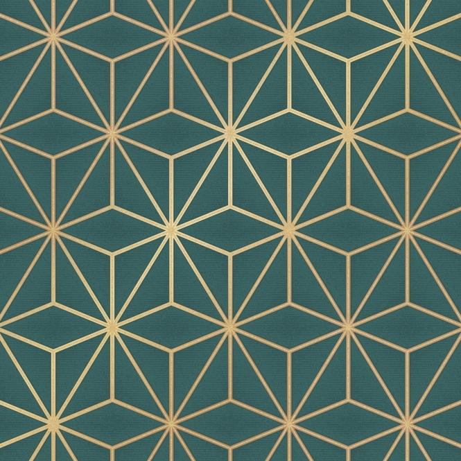 Astral Metallic Geometric Wallpaper Emerald Gold ILW980119
