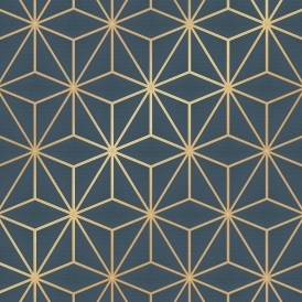 Astral Metallic Geometric Wallpaper Navy Blue Gold