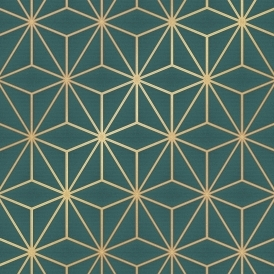 Astral Metallic Geometric Wallpaper Emerald Green, Gold