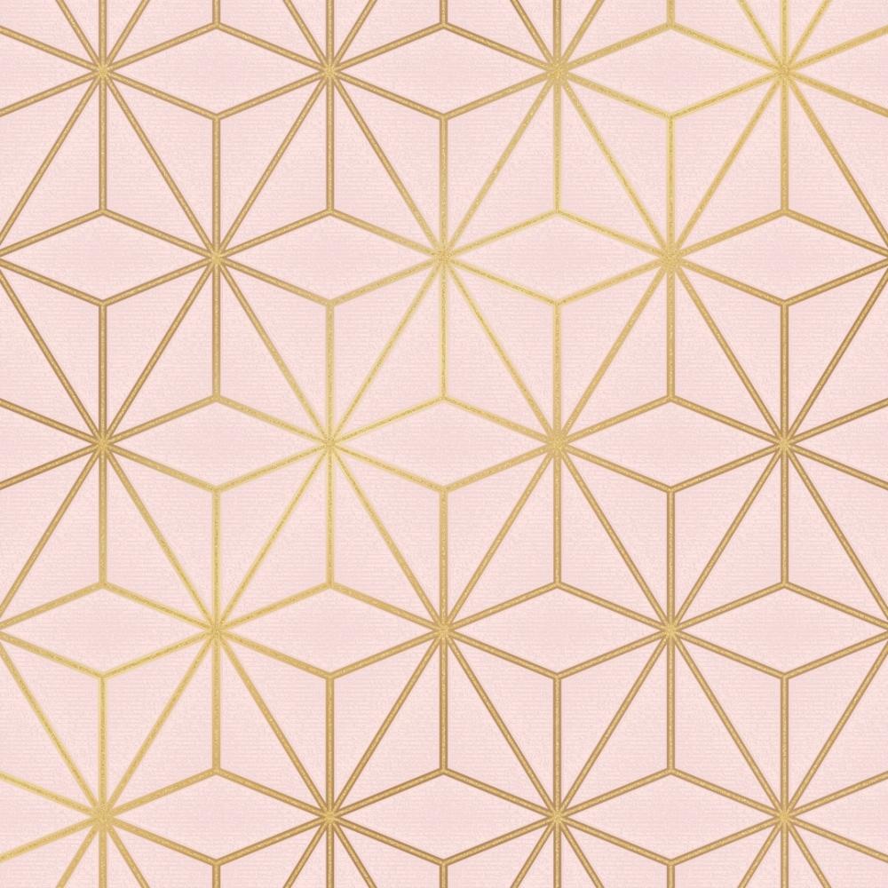 Astral Metallic Wallpaper Blush Pink Gold