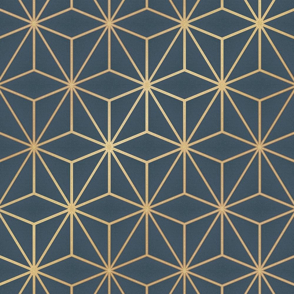 Astral Metallic Wallpaper Navy Blue Gold