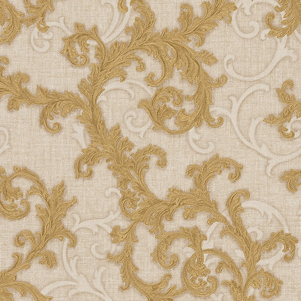 Baroque Amp Roll Ornamental Wallpaper Cream Gold Wallpaper