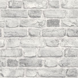 Battersea Brick Wall Effect Wallpaper Grey