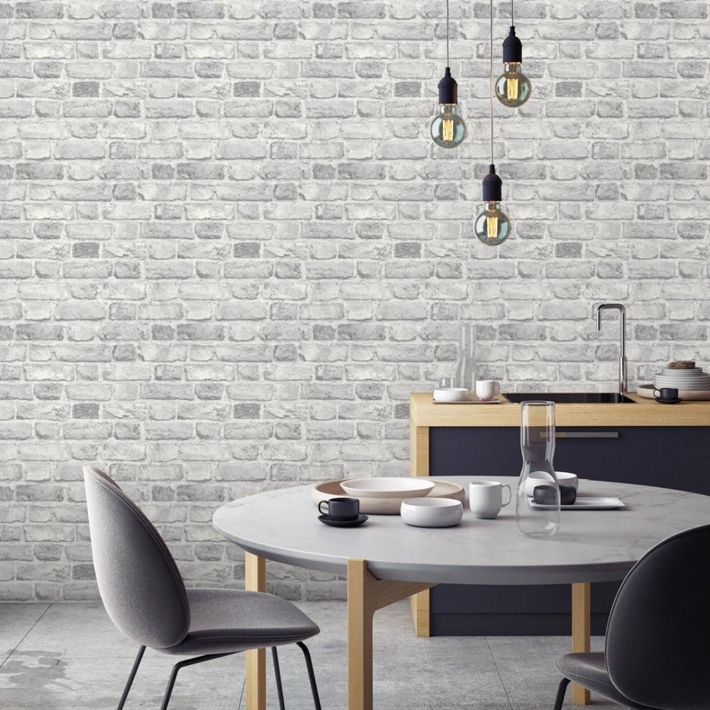 Battersea Brick Wall Effect Wallpaper Grey I Love Wallpaper