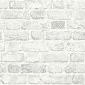 Battersea Brick Wall Effect Wallpaper White