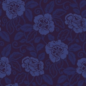 Belle Floral Flock Wallpaper Royal Blue