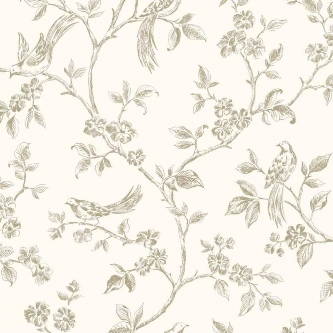 Fine Decor Birds from Live Laugh Love Collection Cream, Gold (FD40290)