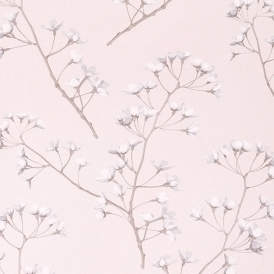 Blossom Hand Screen Printed Floral Wallpaper Soft Rose (JWP-1305)