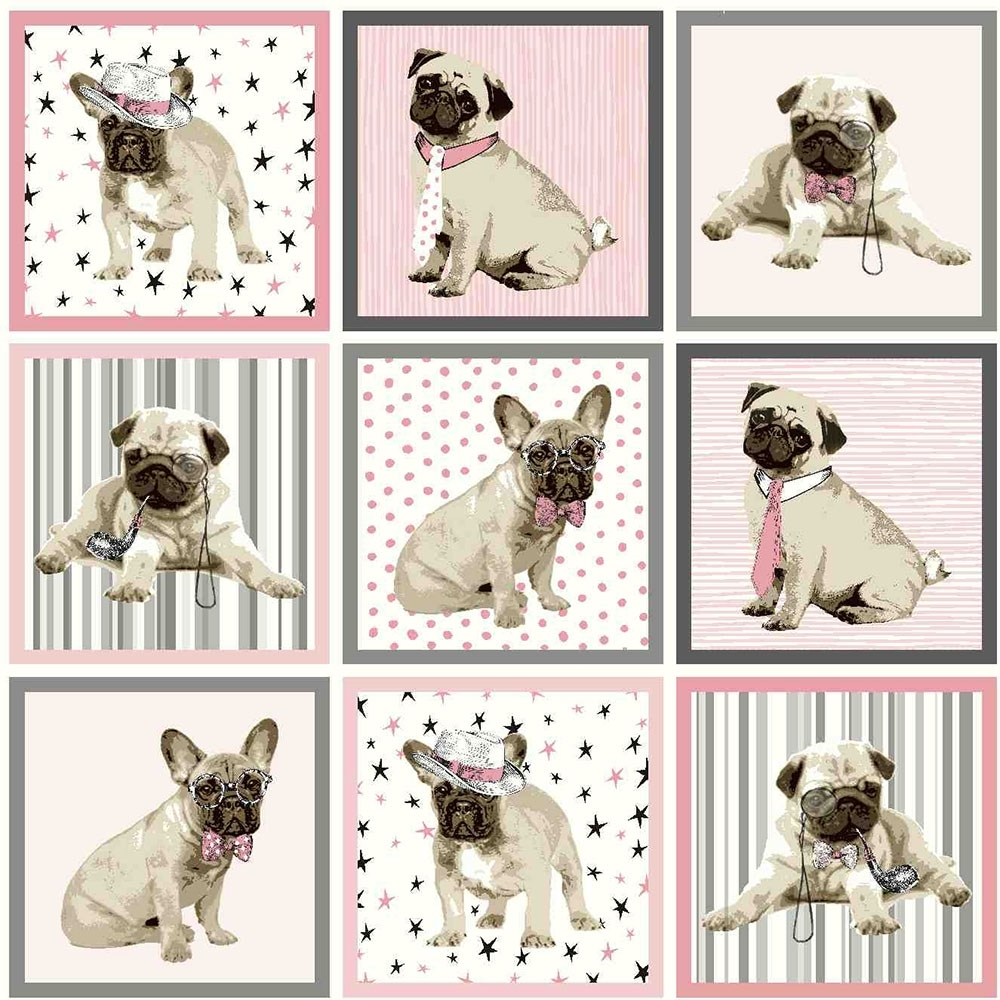 Boris The Dog Wallpaper Grey Pink