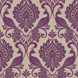 Borromeo Damask Bird Wallpaper Damson