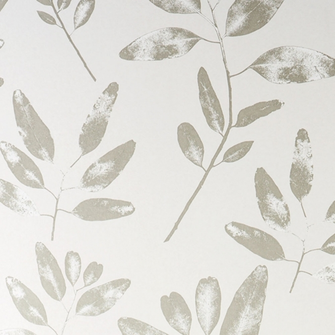 Jocelyn Warner Botanical Hand Screen Printed Leaf Wallpaper Limestone (JWP-2003)