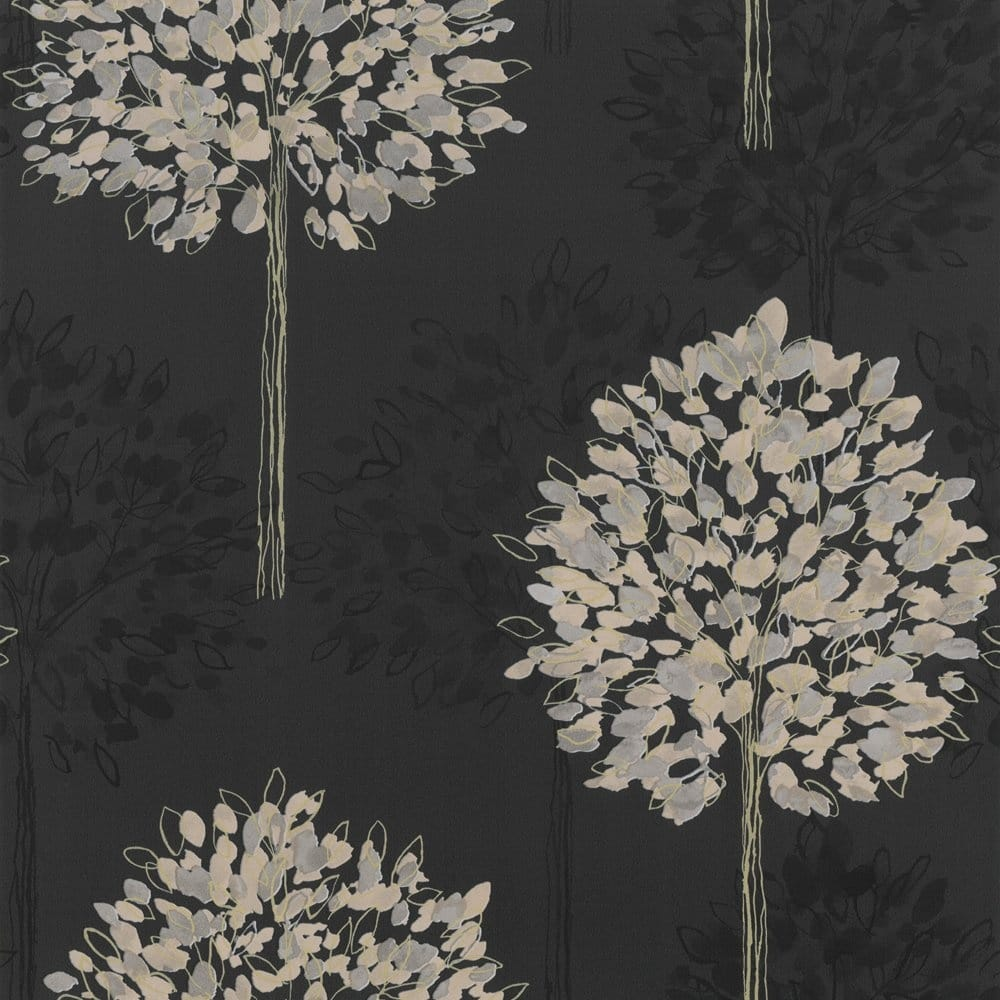 Buy Arthouse Boulevard Tree Wallpaper Black Charcoal Gold