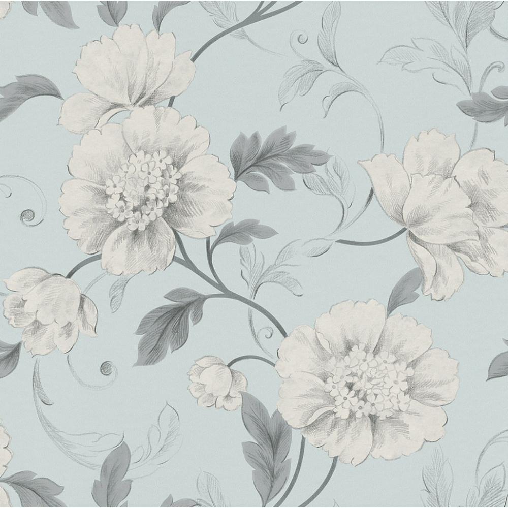 rasch boutique floral wallpaper duck egg grey 226102. Black Bedroom Furniture Sets. Home Design Ideas