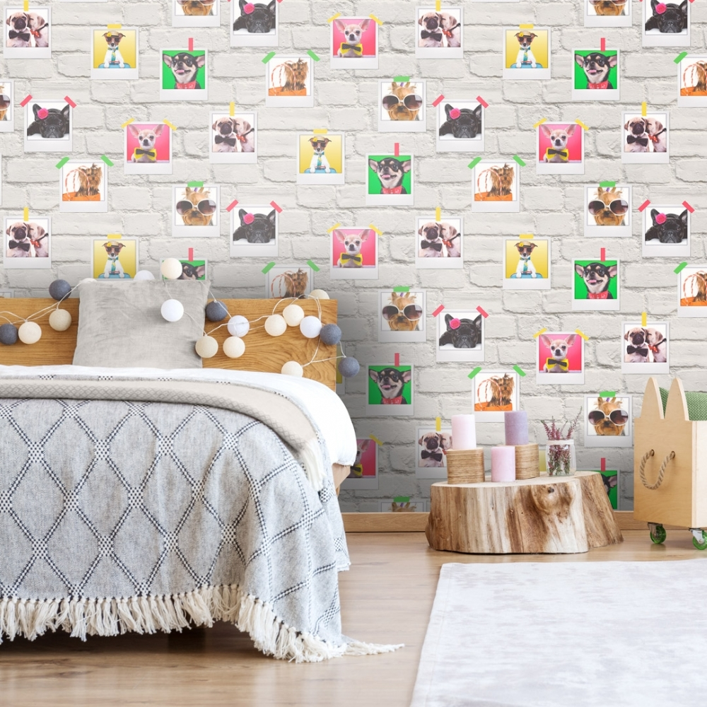 Bow Wow Dogs Wallpaper White Multicoloured Wallpaper From I Love