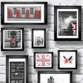 Britain in Frame Wallpaper Red White Black