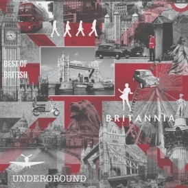 Britannia City Wallpaper Red, Grey, Black (102509)