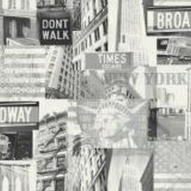 Broadway Cityscape Wallpaper Black White
