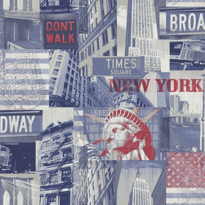 Arthouse Broadway Cityscape Wallpaper Blue Red