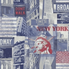 Broadway Cityscape Wallpaper Blue Red