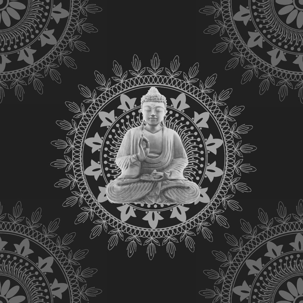 Bonbon Buddha Wallpaper Black Silver 9704 Wallpaper