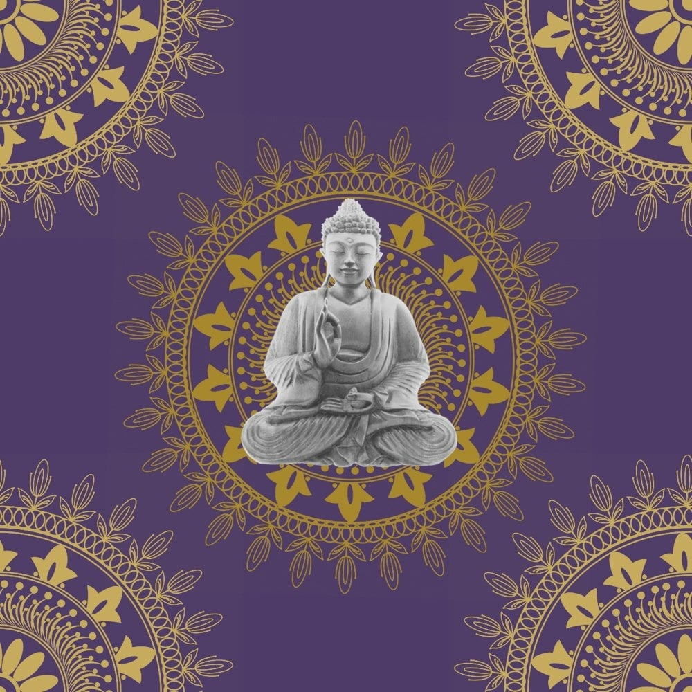 Buddha Wallpaper Purple / Gold (9702)