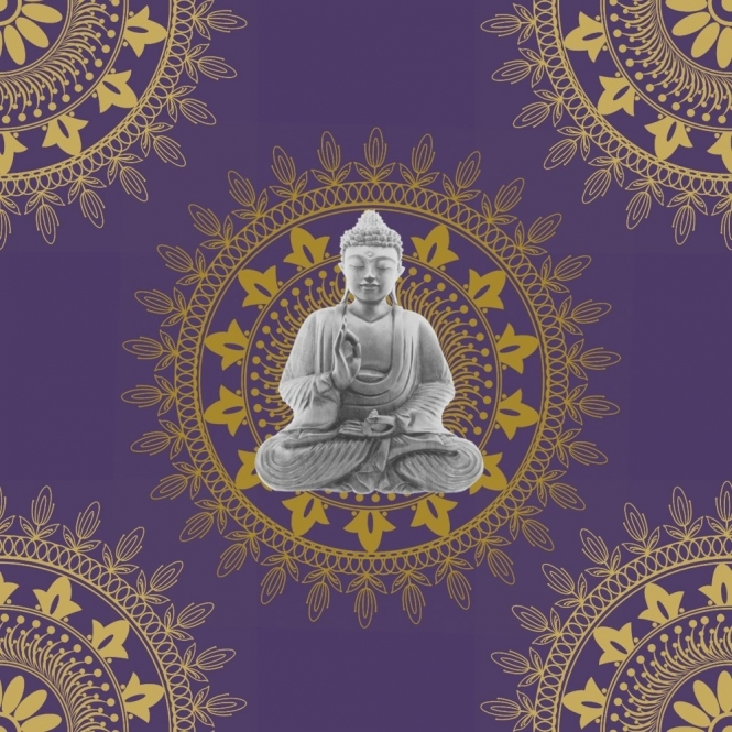 BonBon Buddha Wallpaper Purple / Gold (9702)