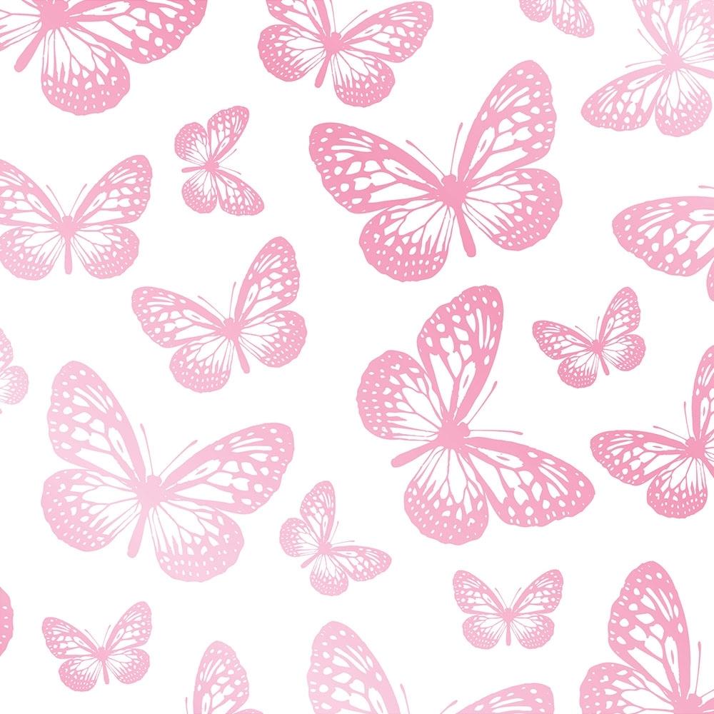 Butterflies Childrens Wallpaper White Pink Wallpaper From I Love