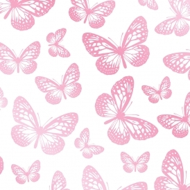 Butterflies Childrens Wallpaper White Pink