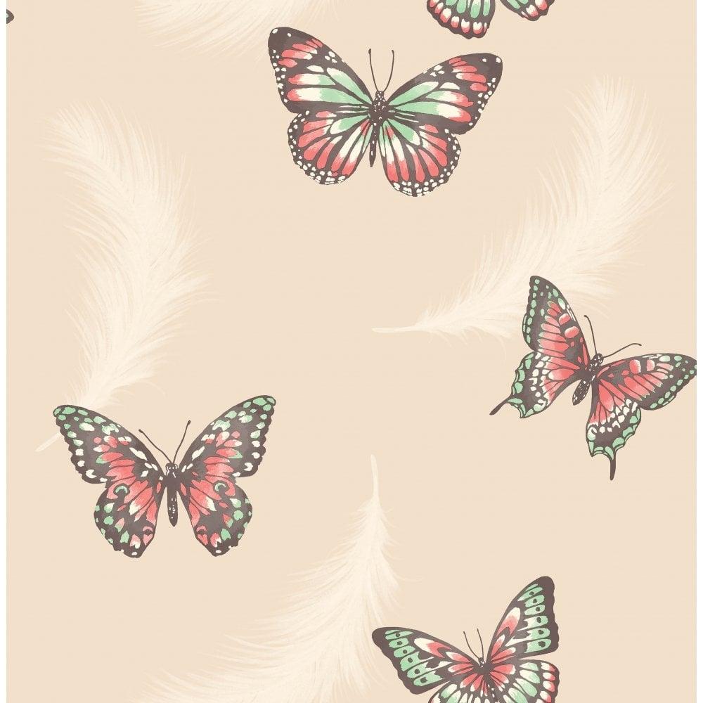 Fine Decor Butterflies Feather Wallpaper Cream Fd40918