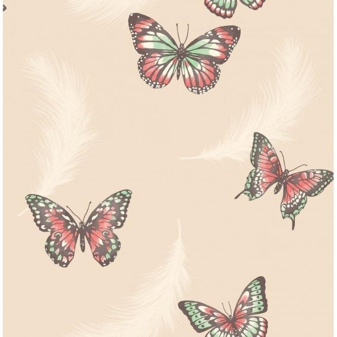 Fine decor butterflies feather wallpaper cream fd40918 for Butterfly wallpaper for walls