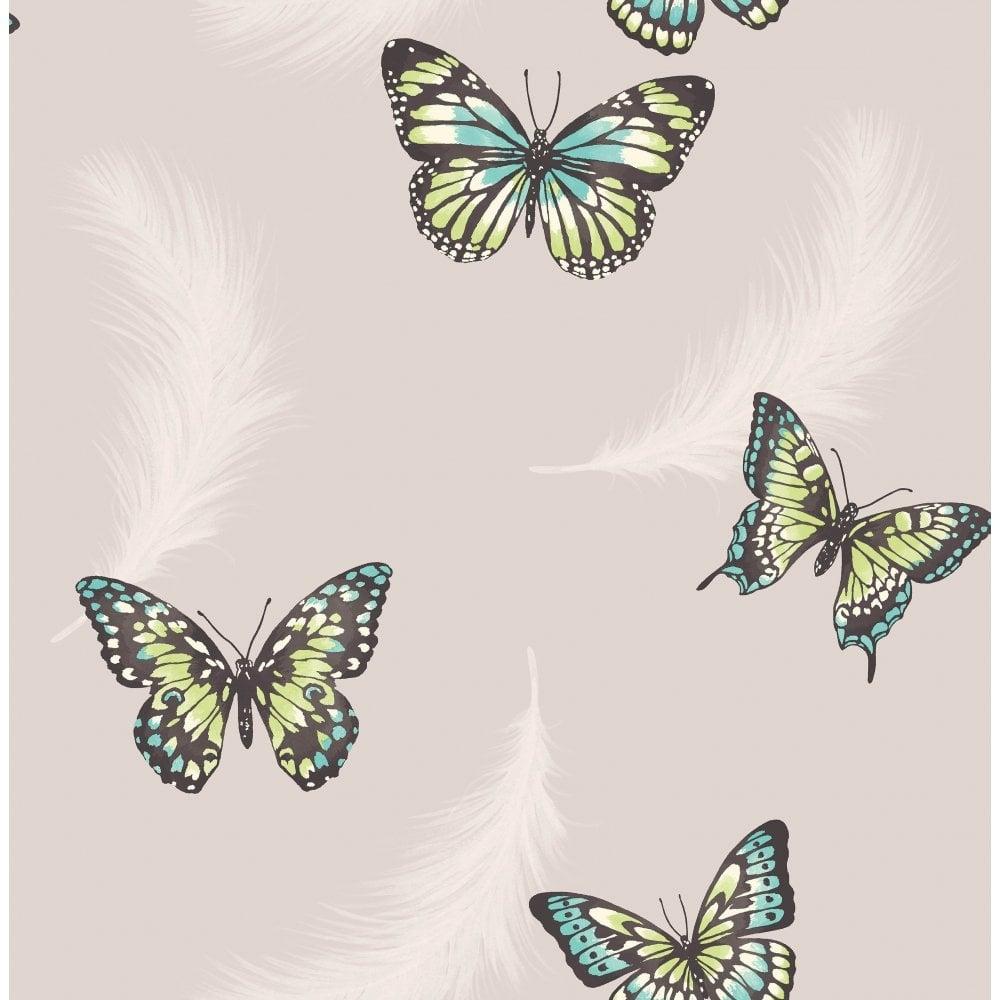 Butterflies Feather Wallpaper Taupe (FD40921) - Wallpaper ...