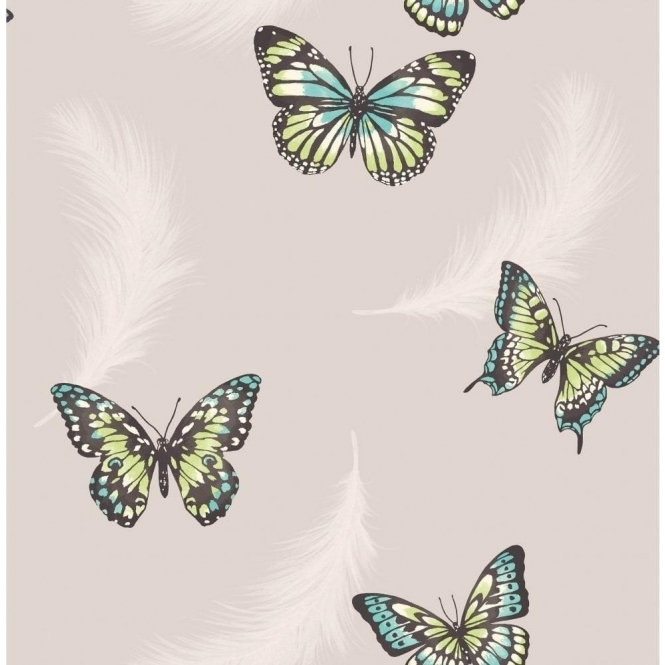 Fine Decor Butterflies Feather Wallpaper Taupe (FD40921)