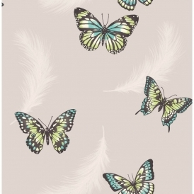 Butterflies Feather Wallpaper Taupe (FD40921)