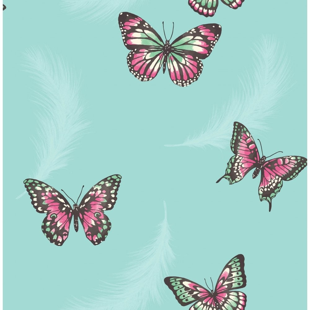 Fine Decor Butterflies Feather Wallpaper Teal (FD40919