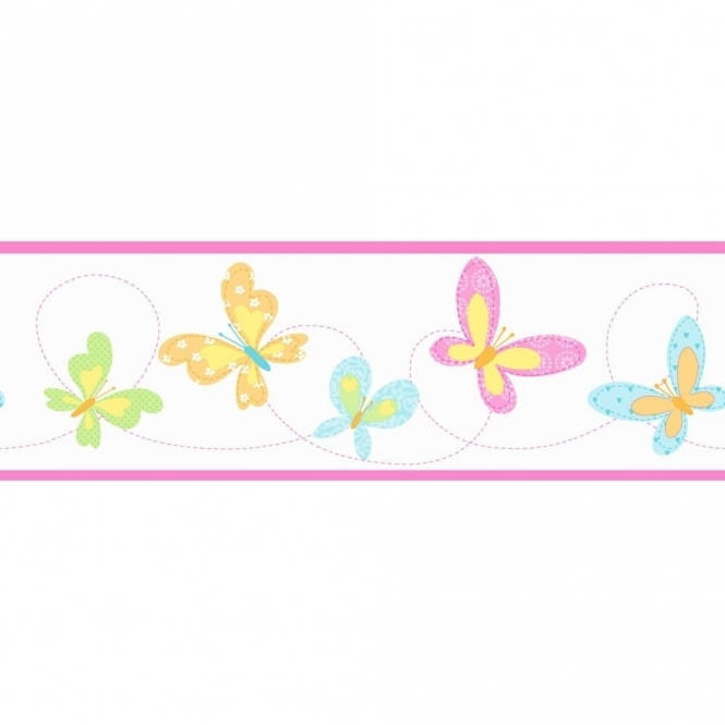 Fine Decor: Hoopla Butterfly Hoopla Border Pink / White (DLB07524)