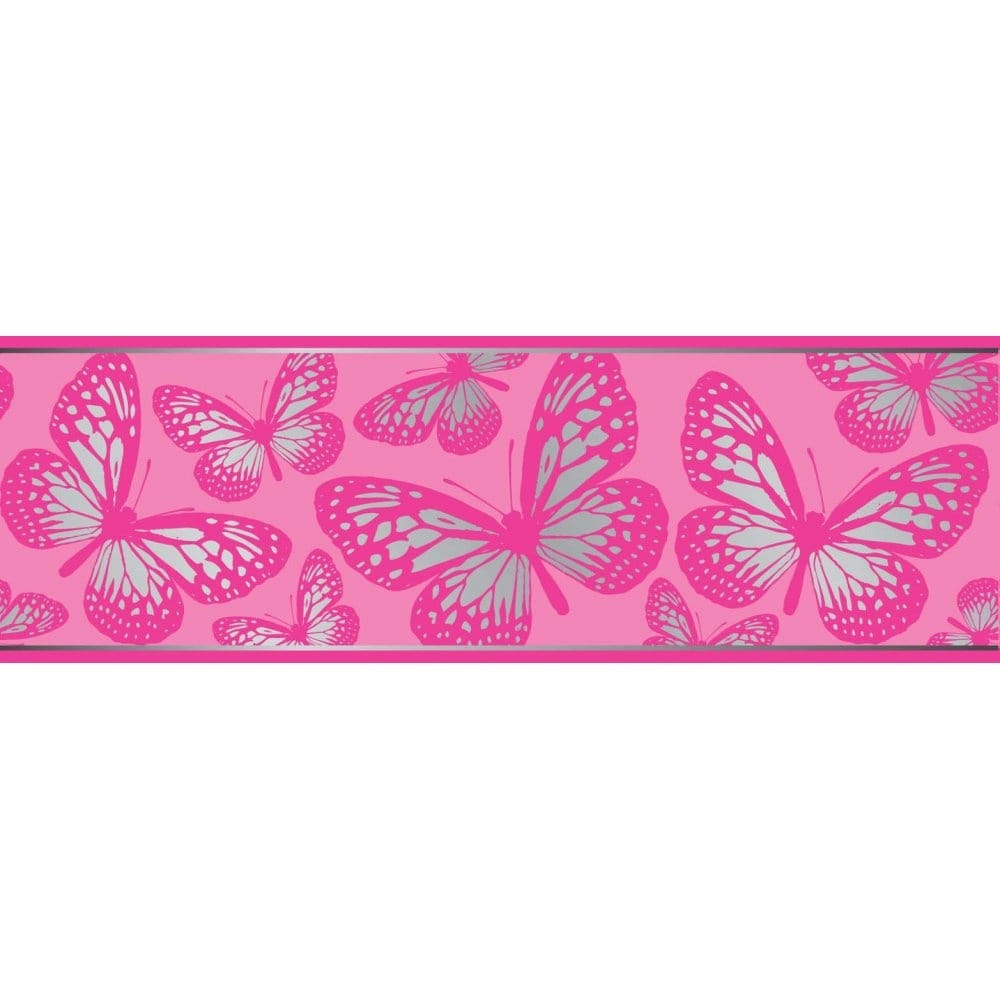 Fun4walls butterfly metallic wallpaper border pink and for Wallpaper borders