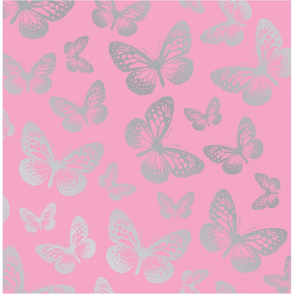 fine decor fun4walls butterfly metallic wallpaper pink    silver