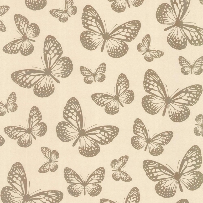 I Love Wallpaper™ Butterfly Shimmer Wallpaper Metallic Gold / Cream (ILW980003)
