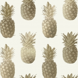 Calypso Pineapples Motif Wallpaper Cream Gold