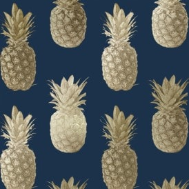 Calypso Pineapples Motif Wallpaper Navy Gold