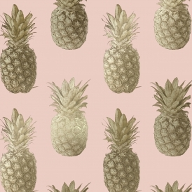 Calypso Pineapples Motif Wallpaper Pink Gold