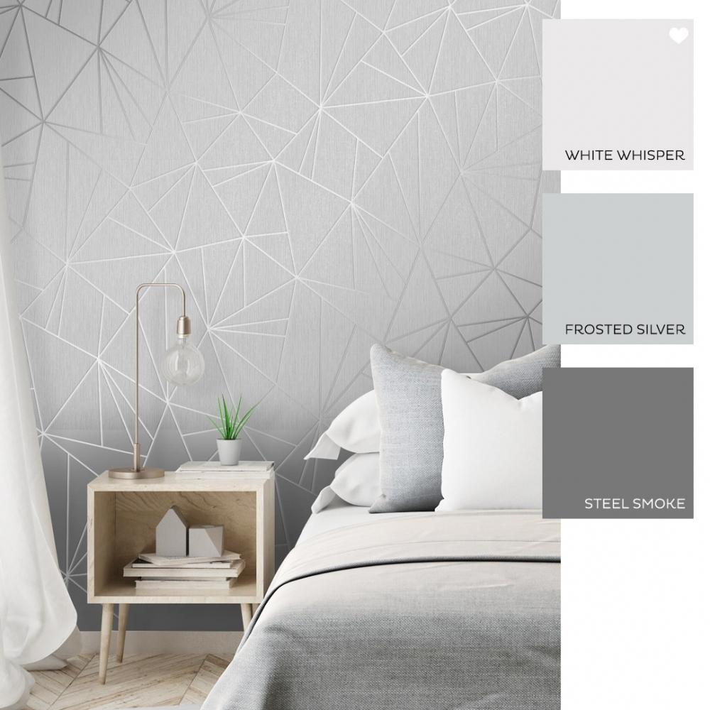 Camden Apex Glitter Wallpaper Silver Wallpaper From I Love